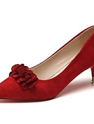 preiswerte -Damen High Heels Pumps Herbst Kaschmir Kleid Blume Stöckelabsatz Schwarz Rot 7,5 - 9,5 cm