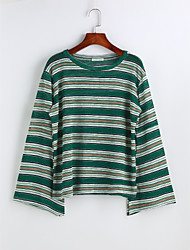 cheap -Women's Casual Blouse - Solid Colored Striped