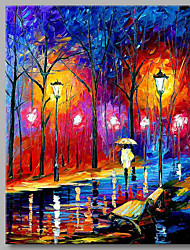 Rainy Night Person 100% Hand Painted Contemporary Oil Paintings Modern Artwork Wall Art for Room Decoration