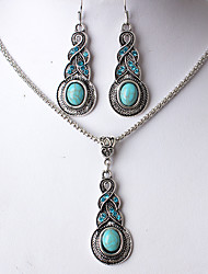 Women's Drop Earrings Necklace Rhinestone Vintage Turquoise Alloy Drop For Party Daily Casual Office & Career Work Street Wedding Gifts