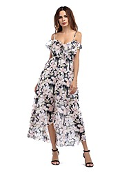 Women's Party Beach Holiday Going out Casual/Daily Sexy Simple Cute Sheath Swing Dress,Floral Strap Maxi Short Sleeves RayonAll Seasons