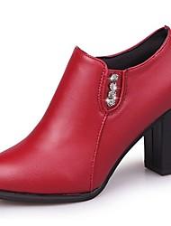 Femme Chaussures à Talons Confort Automne Polyuréthane Habillé Strass Gros Talon Noir Rouge 7,5 à 9,5 cm