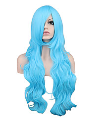 cheap -Long Curly Hair Blue/Blonde Color Cosplay Wigs Heat Resistant Women's Wig