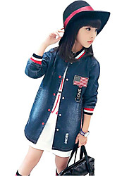 cheap -Girls' Print Suit & Blazer,Cotton Rayon Spring Fall Long Sleeve Blue