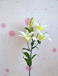 1 Branch Plastic Lilies Plants Tabletop Flower Artificial Flowers Living Room Bedroom Decoration Flower Pastoral Style Wedding Supplies
