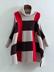 Lungo Cloak / Capes Da donna-Per uscire Casual Semplice Romantico A strisce A collo alto Manica lunga Cotone Primavera AutunnoMedio