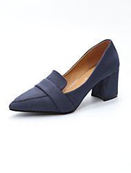 cheap -Women's Heels Comfort Basic Pump Spring Fall Nubuck leather Office & Career Dress Party & Evening Chunky Heel Black Dark Blue Gray Ruby
