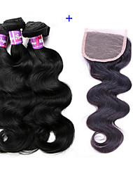 cheap -Brazilian Virgin Hairs 4 Bundle Body Wave Hair Weft With 1 Closure 4X4 Size Texture Wavy Body Wave hair with full lace Closure