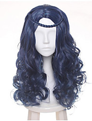 cheap -60cm Female's Blue Black Mix Wave Long Central Part Braid Styled Synthetic Hair Party Cosplay Full Wig Heat resistance Halloween Custoe Wig Hot