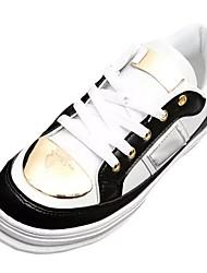 economico -Da donna Scarpe PU (Poliuretano) Primavera Autunno Comoda Sneakers Piatto Punta tonda Lacci Per Casual Bianco Nero Schermo a colori