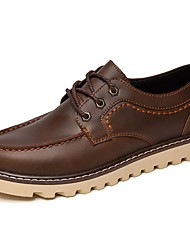 cheap -Men's Shoes PU Spring Fall Comfort Oxfords Lace-up Ruched for Casual Black Coffee Brown
