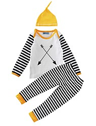 Baby Boy's Cotton Casual/Daily Geometic Print Clothing SetStripes Spring/Fall Winter 3pcs Outfits Newborn Infant Baby Clothes