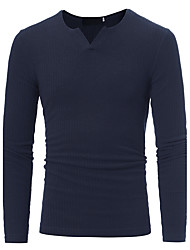 Men's Plus Size Casual/Daily Simple Active Regular Pullover,Solid V Neck Long Sleeves Cotton Fall Winter Thin Stretchy