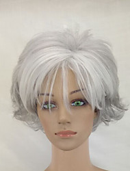 Women Synthetic Short Curly Hair Puffy Layered Natural Silver Grey Wig With Bangs