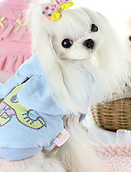 cheap -Dog Vest Dog Clothes Animal Blue Pink Cotton Down Costume For Pets Casual/Daily