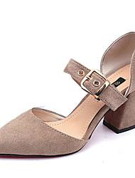 cheap -Women's Sandals Comfort Spring Summer PU Casual Low Heel Black Light Brown Under 1in