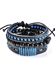 cheap -Men's / Women's Geometric Leather Bracelet - Leather Classic, Bohemian, Basic Bracelet Blue For Wedding / New Baby / Gift