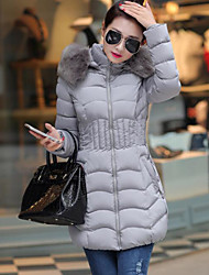 Women's Down Coat,Street chic Going out Solid-Others Polypropylene Long Sleeves