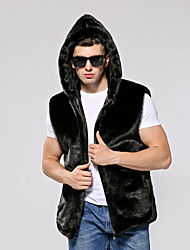 Men's Party Plus Size Casual/Daily Work Club Simple Vintage Fall Winter Vest,Solid Hooded Sleeveless Regular Faux Fur CottonFur Trim