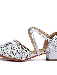 Femme Chaussures de danse enfant Tricot Paillettes Coton Cuir Verni Tissu Plate Sandale Basket Intérieur Strass Boucle Ruban Fleur