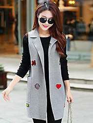 cheap -Women's Daily Simple Casual Winter Fall Vest,Print Notch Lapel Sleeveless Long Cotton