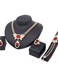 preiswerte -Damen vergoldet Schmuck-Set - Klassisch / Modisch Rot Halskette Für Hochzeit / Party / Abschluss