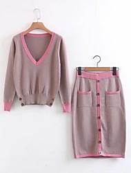 Damen Solide Einfarbig Einfach Niedlich Aktiv Ausgehen Lässig/Alltäglich Festtage T-Shirt-Ärmel Rock Anzüge,V-Ausschnitt Herbst Frühling