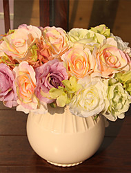 Plastic Roses Tabletop Flower Artificial Flowers Rose Camellia Home Decoration Wedding Supplies Bridal Bouquet Color Random 10 Branches