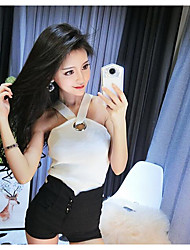 cheap -Women's Daily Sexy Tank Top,Solid Halter Sleeveless Cotton