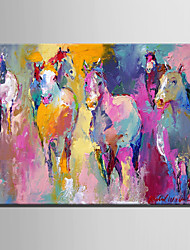cheap -Mini Size E-HOME Oil painting Modern Abstract Pink Hhorse Pure Hand Draw Frameless Decorative Painting