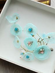 cheap -Tulle Imitation Pearl Rhinestone Silk Net Flowers Hair Clip Hair Claws Headpiece