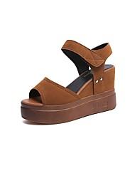 cheap -Women's Shoes PU(Polyurethane) Fall Comfort Sandals Wedge Heel Round Toe Hook & Loop Black / Camel / Wedge Heels