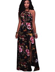 Women's Club Sexy Sheath Dress,Floral Halter Maxi Sleeveless Rayon Polyester Spandex Summer High Rise Micro-elastic Thin