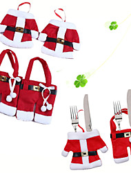cheap -6Pcs/Set Christmas Ornament New Year Christmas Decoration for Home Table Decor Cutlery Pocket Fork&Knife Tableware Pouch