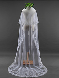 Duas Camadas Borda com aplicação de Renda Véus de Noiva Véu Capela Com Apliques Lantejoulas Bordado Renda Tule