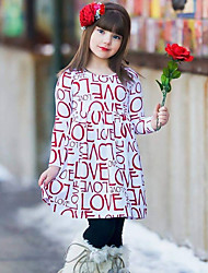 Girl's Dress Love Letter Print Cotton Spring Fall Long Sleeve 2017 New Fashion Kids Girls Dress