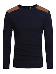Standard Pullover Da uomo-Casual Taglie forti Semplice Tinta unita Rotonda Manica lunga Cotone Primavera Autunno Medio spessore