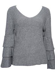 preiswerte -Damen Standard Pullover-Lässig/Alltäglich Einfach Solide Rundhalsausschnitt Langarm Acryl Herbst Mittel Mikro-elastisch