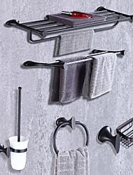 Недорогие -Набор аксессуаров для ванной Модерн Металл 5 шт. - Гостиничная ванна Держатели для туалетной щетки кольцо башни Мыльница На стену