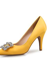 Недорогие -Жен. Обувь Лак / Шёлк Весна / Осень Удобная обувь Обувь на каблуках На шпильке Заостренный носок Стразы Желтый / Миндальный