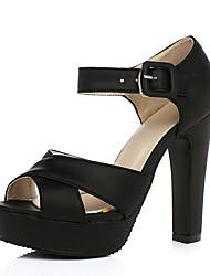 Damen Schuhe PU Sommer Komfort High Heels Blockabsatz Peep Toe Für Normal Schwarz Rosa