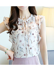 cheap -Women's Going out Work Cute Summer Blouse,Floral Round Neck Sleeveless Cotton Polyester Thin