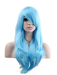 cheap -Women Synthetic Wig Capless Long Natural Wave Sky Blue Natural Wig Costume Wigs