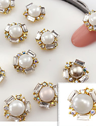 cheap -5PCS 11mmX11mm Fashion  Pearl Inlay  Alloy Accessories Nail Art Decoration Jewelry Charms