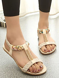 Damen Schuhe Echtes Leder PU Sommer Komfort Sandalen Für Normal Schwarz Beige Rot Blau