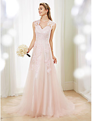 cheap -Princess V Neck Sweep / Brush Train Lace Tulle Custom Wedding Dresses with Appliques by LAN TING BRIDE®