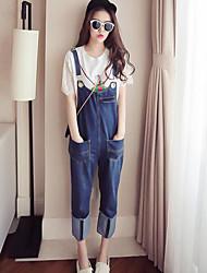 Da donna A vita alta Casual Media elasticità Taglia piccola Tuta da lavoro Pantaloni,Tinta unita Estate
