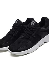 Men's Athletic Shoes Running Light Soles Knit Tulle Fall Winter Athletic Casual Outdoor Low Heel Black/White Black White Under 1in
