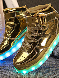cheap -Boys' Shoes Leatherette Winter Fall Comfort Light Up Shoes Sneakers Walking Shoes Hook & Loop LED For Athletic Casual Outdoor Gold White