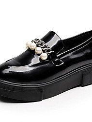 Women's Loafer & Slip-On Novelty Spring Summer Fall Winter Leather Office & Career Party & Evening Dress Imitation Pearl Creepers Black